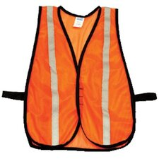 Economical Mesh Traffic Vests - hi-viz orange traffic vest velcro closure 1""