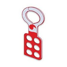 "Red Metal Lockout Hasp 4-3/8"" Length, 1"" Diameter Jaw Opening, Single Scissor Type Rrubber Dipped, Accomodates 6 Padlocks"
