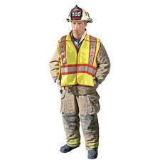 - Large Hi-Viz Yellow ANSI Tricot Fabric Public Safety Fire Vest With 3M™ 2 Tone Scotchlight™ Relfective Stripes