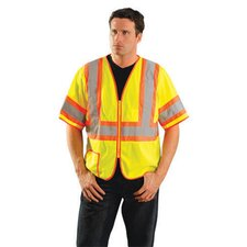 <strong>OccuNomix</strong> Hi-Visibility Yellow Two Tone Half Sleeve Mesh Vest With Orange Stripes And Silver Reflective Stripes