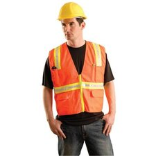 Hi-Viz Orange Non ANSI Woven Twill Polyester Surveyor's Vest With Mesh Back And Two-Tone Trim