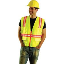 Large Hi-Viz Yellow OccuLux® Polyester Surveryor Vest With 2 Tone Trim, 2 Surveryor Top Front Pockets, 2 Lower Front Pockets With Flap Covers, 2 Large Inside Pockets And Zipper Closure
