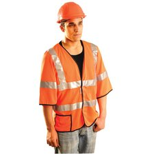 Orange Polyester Breatable Knit Mesh Short Sleeve Cool Vest With Hook And Loop Closure, One Outside Pocket And Reflective Striping