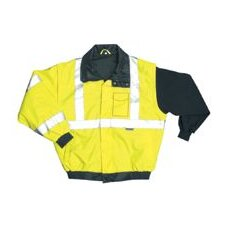 Hi-Viz Yellow PVC Coated Polyester ANSI Class 3 Occulux Bomber Jacket With 3M™ Reflective Strpes And Nylon Lining