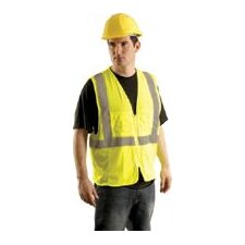 Hi Viz Yellow Class II Economy Mesh Surveryor's Vest With Silver Stripes