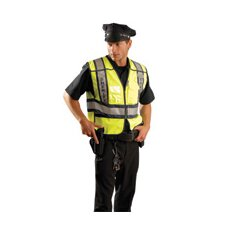 High Visibility Yellow ANSI Tricot Fabric Public Safety Security Vest With Five-Point Breakaway Design, Hook And Loop Front Closure, Adjustable Sides, Mic Tab, Clear Badge Pocket, Radio Pockt And 3M™ Scotchlite™ Reflective Tape Stripes
