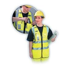 High Visibility Yellow OccuLux® Multi-Pocketed Zipper Vest W/3M™ Scotchlite™ Reflective Tape (ANSI Class 2)