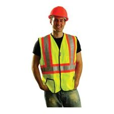Tone OccuLux® High Visibility Fluorescent Yellow Vest With 3M™ Scotchlite™ Reflective Tape Trimmed, Trimmed In Bright Orange Size Large