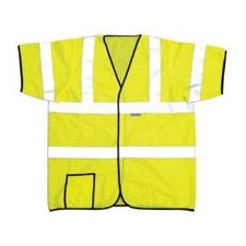 "Large OccuLux® High Visibility Yellow Short Sleeve Mesh Vest With 2"" Wide Horizontal Stripes And 2"" Wide Vertical Shoulder Stripes"