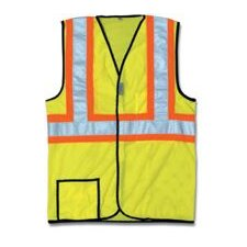 "Large OccuLux® HiVis Yellow 2Tone Cool Mesh Vest W/2"" Wide Hrzntl Stripes & 2"" Wide Vertical Shoulder Stripes"
