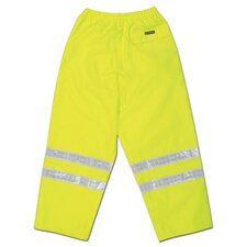 "Hi-Viz Lime Luminator PRO Grade Polyester Class III Rain Pants With Taped Seams, Drawstring Closure, Expandable Ankle Gussets, Side Pockets, Back Zipper Pocket With Velcro Storm Flap And 2"" White Vinyl Series Reflective Stripes"