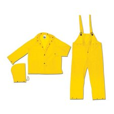 Yellow Squall 0.2 mm PVC Rain Suit With Welded Seams, Storm Flap Over Snap Front Closure, Detachable Drawstring Hood, Snap Wrists, Ankles and Waist, Reinforced Crotch, Plain Back, 2 Patch Pockets With Flap, Elastic Insert Adjustable Suspenders And