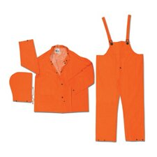 Orange Classic Plus 0.35 mm PVC 3-Piece Rain Suit With Cape Vented Back Jacket With Corduroy Collar, Detachable Hood And Bib Pants