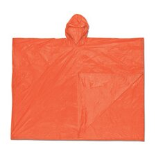 Size Fits All Orange Schooner 0.1 mm PVC Rain Poncho With Welded Seams, Snap Closure And Attached Hood