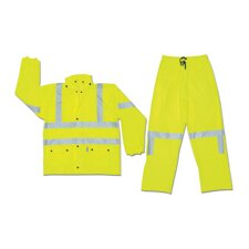 Fluorescent Lime Luminator 0.4 mm Polyurethane/PVC/Cotton Class III Flame Resistant Rain Suit With, Roll-Up Hood, Expandable Ankle Gussets, Elastic Inner Cuff In Jacket Sleeves, 2 Front Patch Pockets And 3M™ Reflective Stripes