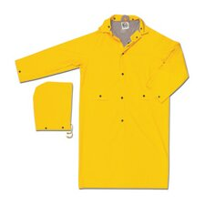 Yellow Stowaway 0.25 mm PVC Rain Jacket With Welded Seams, Storm Flap Over Snap Front Closure, Detachable Drawstring Hood, Snap Wrists, Cape Ventilated Back With 2 Mesh Holes, And Underarm Air Vents