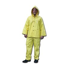 Yellow 0.28 mm Nylon Rain Suit With Welded Seams, Storm Flap Over Snap Front Closure, Detachable Drawstring Hood, Snap Wrists, Ankles and Waist, Reinforced Crotch, Plain Back, No Pocket,And Elastic Insert Adjustable Suspenders