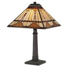 "Timber Tiffany 21"" H Table Lamp with Square Shade"