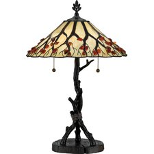 "Agate Portable Whispering Wood 25"" H Table Lamp with Empire Shade"