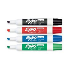 Dry-erase Markers,Chisel Point,Nontoxic,4/PK,Assorted