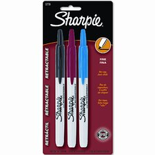 Retractable Permanent Markers (3 Pack)