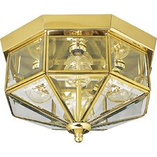 Hexagonal Beveled Glass Outdoor Flush Mount