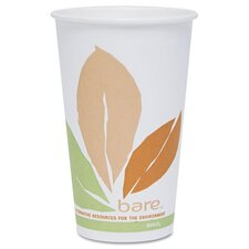 Company Bare Pla Hot Cups with Leaf Design, 16 Oz.,300/Carton