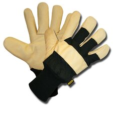 Lined Grain Pigskin Gloves with Canvas Back