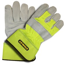 Hi-Vis Cowhide Leather Gloves with Nylon Back