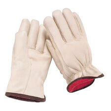 Large White Grain Cowhide Fleece Over Foam Lined Gunn Cut Drivers Gloves With Straight Thumb
