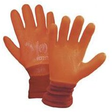 Large Orange PVC Nylon And Foam Lined Cold Weather Gloves With Knit Wrist