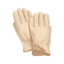 X-Large Tan Grain Cowhide Jersey Lined Gunn Cut Drivers Gloves With Straight Thumb