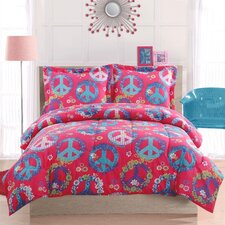 Peace Sign 3 Piece Full Comforter Set