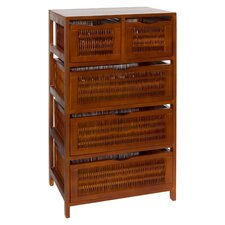 Chestnut 5 Drawer Storage Chest
