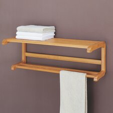 Lohas Wall Mount Shelf with Towel Bar in Caramel