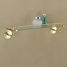 Glass Shelf with Brass Mounts and Rail