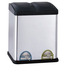 2 Compartment Step-On 7.93 Gallon Multi Compartment Recycling Bin