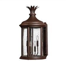 "Cayo Costa 4-Light  28.5"" x 14.5"" Outdoor Wall Lantern in River Rock Aluminum"