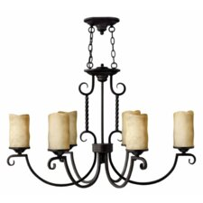 Casa 6 Light Chandelier with Scavo Glass