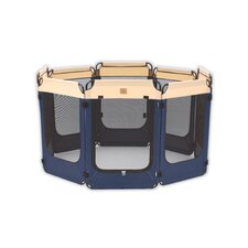 Soft Sided Exercise Pen in Navy / Tan