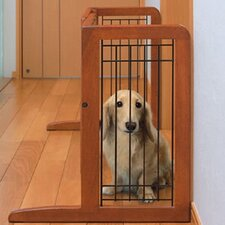 Freestanding Wooden Pet Gate in Autumn Matte Finish