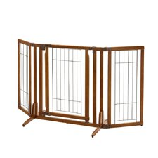 "Premium Plus Freestanding Pet Gate with Door Brown 34 - 63"" x 26 - 20.5"" x 32"""