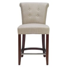 Aldo Mahogany Linen Counter Stool in Beige