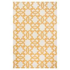 Dhurries Ivory/Yellow Area Rug