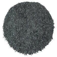 Leather Shag Grey Rug