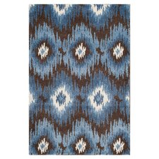 Retro Dark Brown / Blue Rug