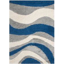 Shag Blue and Gray Rug