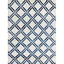Moroccan Ivory/Blue Rug