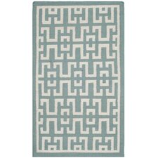 Dhurries Seafoam/Ivory Outdoor Area Rug