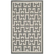 <strong>Safavieh</strong> Dhurries Soft Grey /  Ivory Moroccan Rug